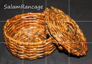 Wadah tutup kecil (anyaman koran) Pilahan warna : dark, walnut, natural, putih, warna warni